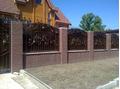 Кованый забор с оградой из кирпича и бронзовым поликарбонатом