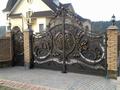 Металлические ворота и калитка с элементами ковки